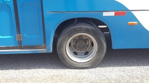 A photo of the offending bus wheel, which burst not long before the photo was taken.