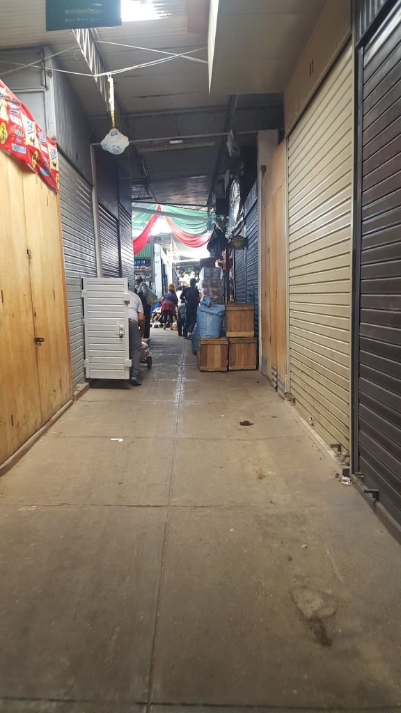 An empty alley in the market, with the stall doors rolled shut.